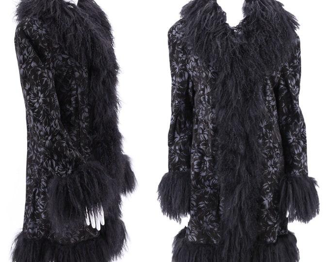90s suede & lamb fur trim penny lane coat / vintage 1990s printed coat w/ Tibetan lamb shaggy fur trim M