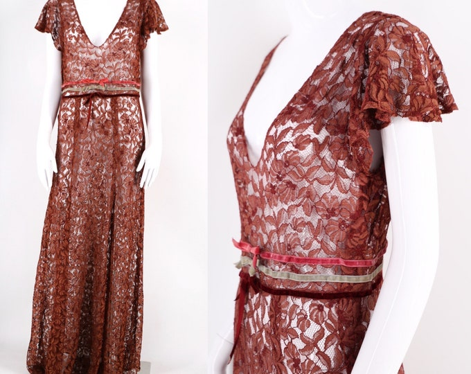 30s deco lace dress / Burgundy evening gown with velvet ribbon details old Hollywood vintage 1930s
