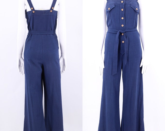 70s indigo bell bottom Jumpsuit overalls / vintage 1970s crinkle cotton blue jumpsuit flared bottoms pants sz M