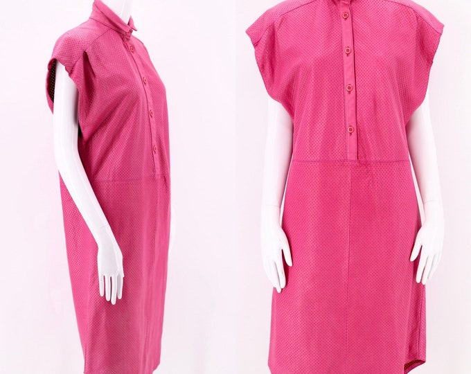 80s Lillie Rubin Pink Leather Perforated Tunic Dress / vintage 1980s shift dress sz M