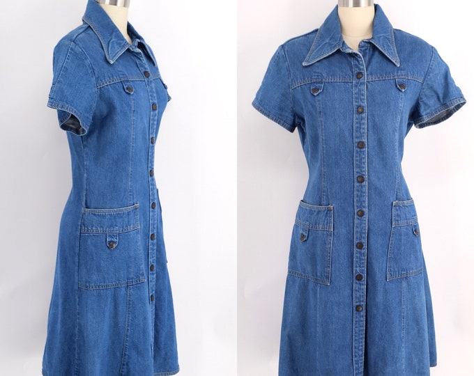70s LANDLUBBER denim dress sz L / vintage 1970s shirt dress snap front