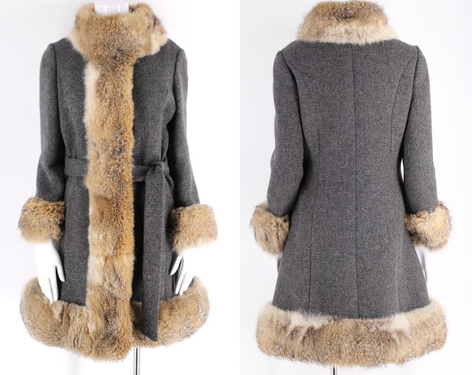 60s gray wool Cuddlecoat coyote fur trim / vintage 1960s penny lane style tie winter coat M-L