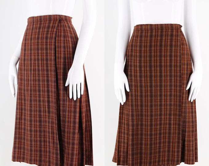 70s YSL Yves Saint Laurent plaid kilt : Earth tones wool plaid pleated wrap skirt vintage 1970s school skirt size 44 12