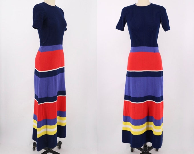 70s LANVIN striped knit maxi dress size 6-8