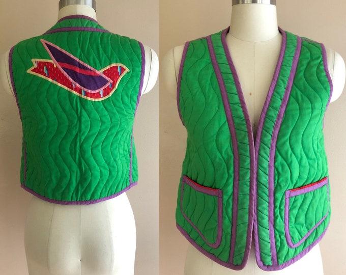 70s JEANNE MARC appliquéd bird quilted cotton vest / vintage 1970s art to wear folk top green vest small