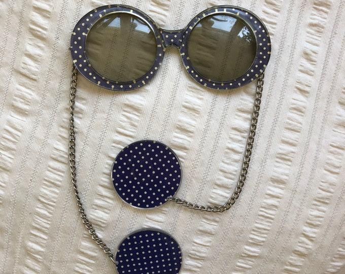 60s purple POP art mod earring chain sunglasses / vintage 1960s polka dot plastic novelty glasses