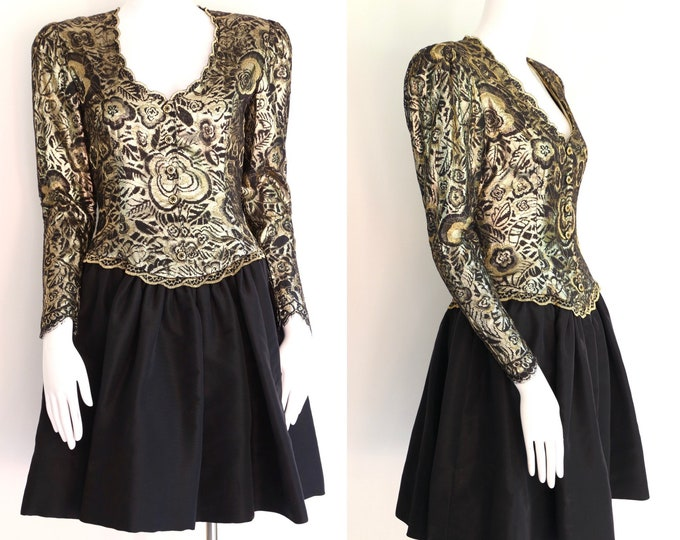 80s Pauline Trigere gold lace cocktail dress / vintage 1980s designer dress taffeta pouf skirt evening sz 8