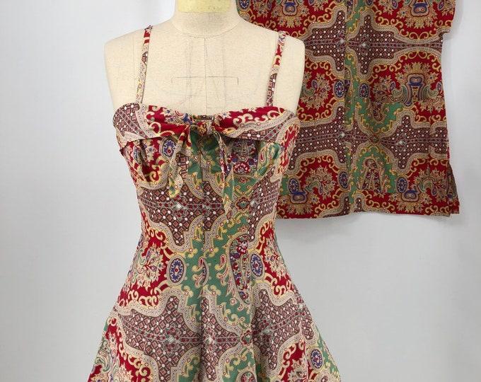 50s PLAYSUIT set paisley print cotton with a duster jacket VINTAGE 1950s romper bathing suit 2 pc