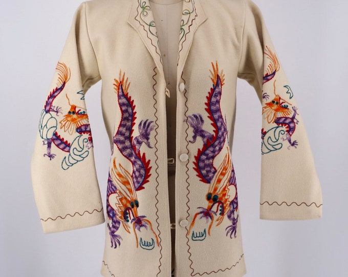 40s DRAGON EMBROIDERED Chinese wool jacket S