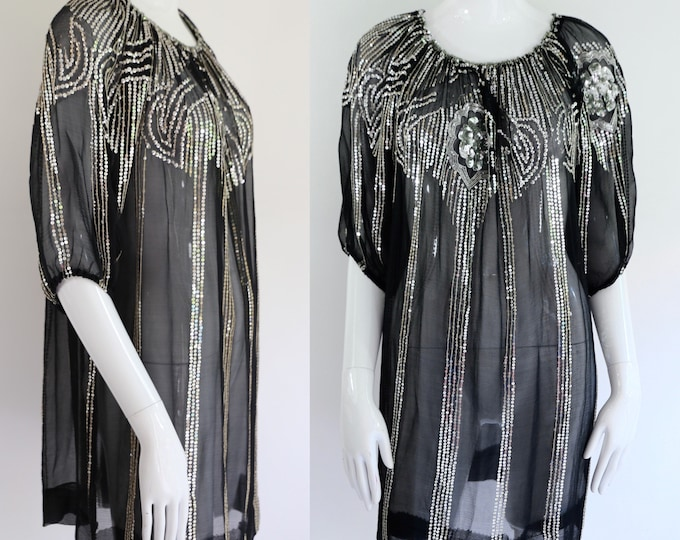 70s Saks chiffon sequin peasant blouse / vintage 1970s black puff sleeve silk disco tunic top sz L