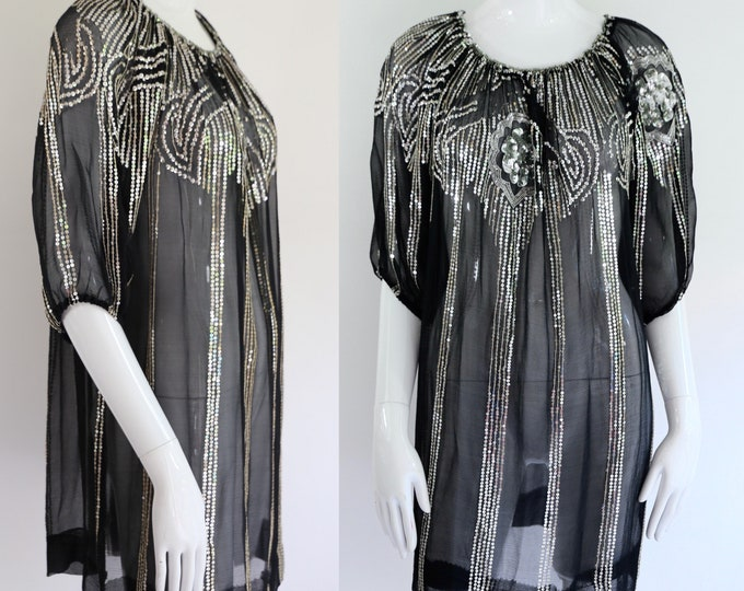 70s Saks chiffon sequin peasant blouse / vintage 1970s puff sleeve silk disco tunic top sz L
