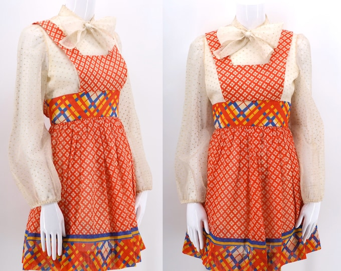 60s mini print apron dress w/ attached blouse / vintage 1960s dolly mini kawaii cute