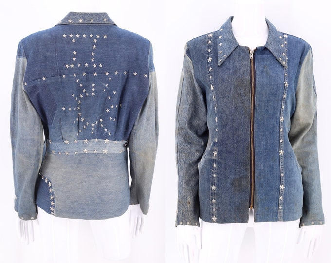 70s custom studded denim patchwork jacket L / vintage 1970s metal star studs Woodstock era denim jacket