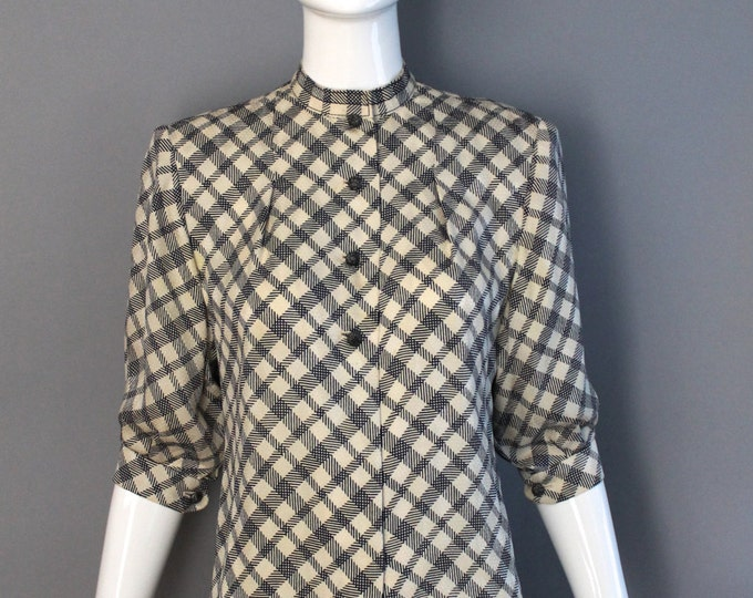 70s JAMES GALANOS navy white silk check print button front tailored blouse top high waisted vintage 1970s