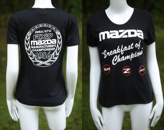 80s MAZDA car vintage graphic t shirt L / vintage 1980s classic auto tee shirt 1986