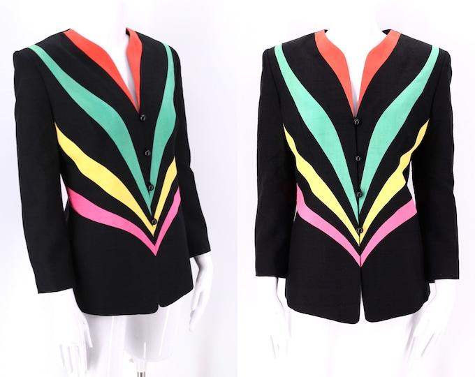80s LILLI ANN rainbow silk Jacket 10 / vintage 1970s 1980s black chromatic novelty print blazer M