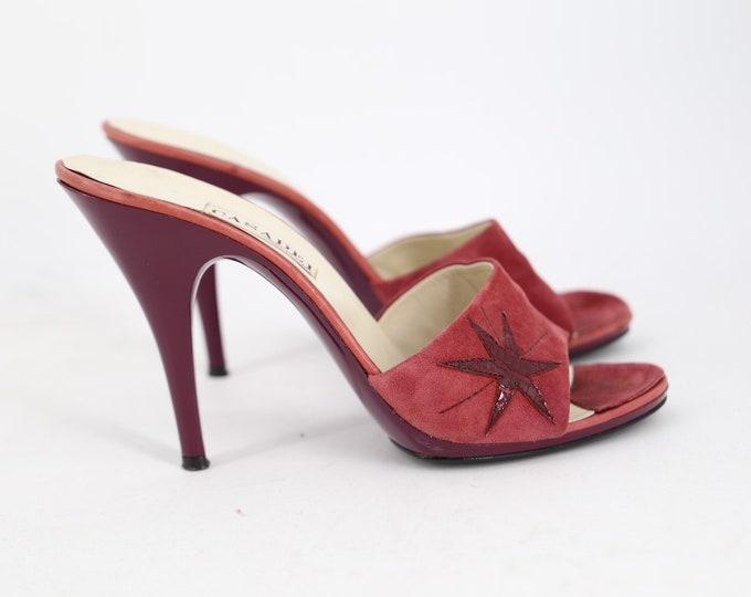 70s suede star spike heels mules sz 8 / vintage 1970s raspberry applique disco pumps