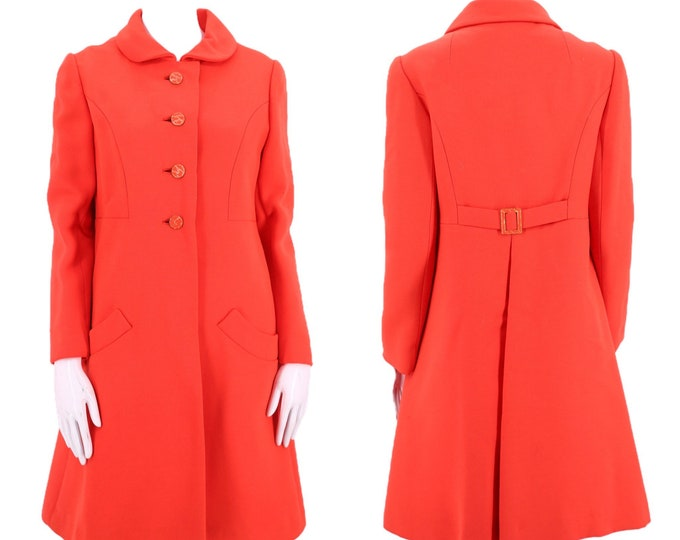 60s orange wool mod coat M / vintage 1960s bright colored hue tailored A line coat jacket