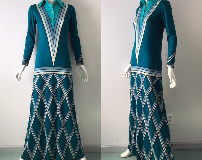 70s ROBERTO Di CAMERINO Trompe L'oeil wool knit print maxi DRESS rare 1970s vintage