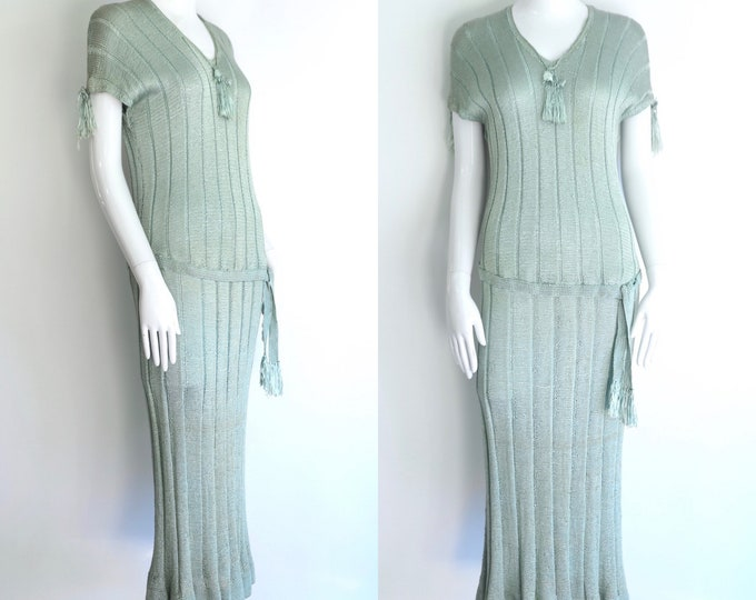 vintage 20s knit dress / 1920s icy blue Deco era slinky day sportswear dress w/ drop waist
