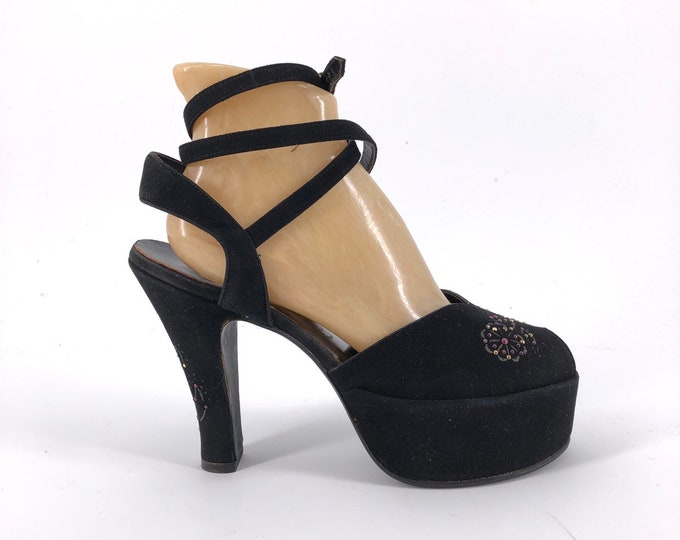 40s STUDDED PLATFORM black suede extremely rare high heels with wrap around ankle straps 7.5