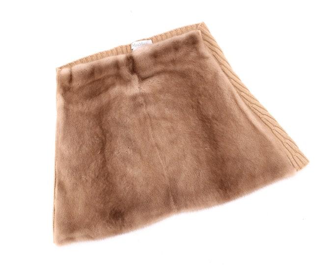 vintage MAXMARA mink fur mini skirt Y2K / 90s 2000s real fur and knit skirt sz 10 / L