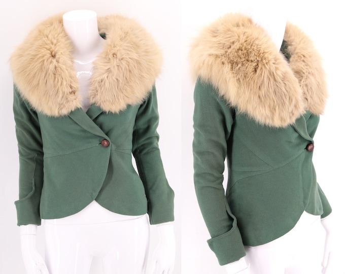 30s Fox fur trim wool jacket / vintage 1930s green Art Deco period suit jacket top XS