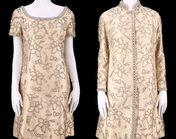 60s beaded cocktail Dress & coat  / vintage 1960s silk wedding evening outfit M-L