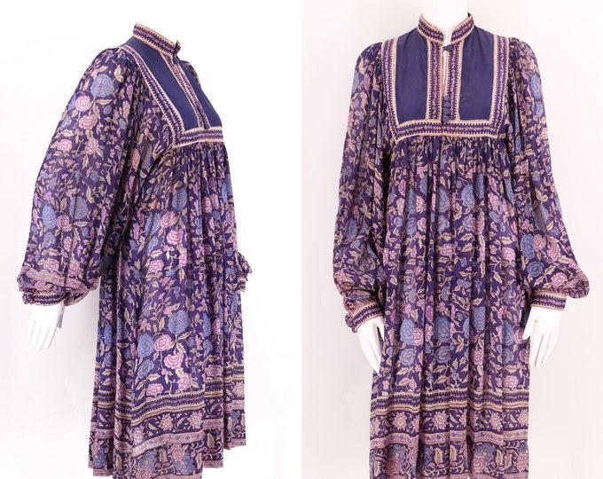 70s PHOOL silk India print peasant dress / vintage 1970s hippy loose fit sheer festival dress sz S