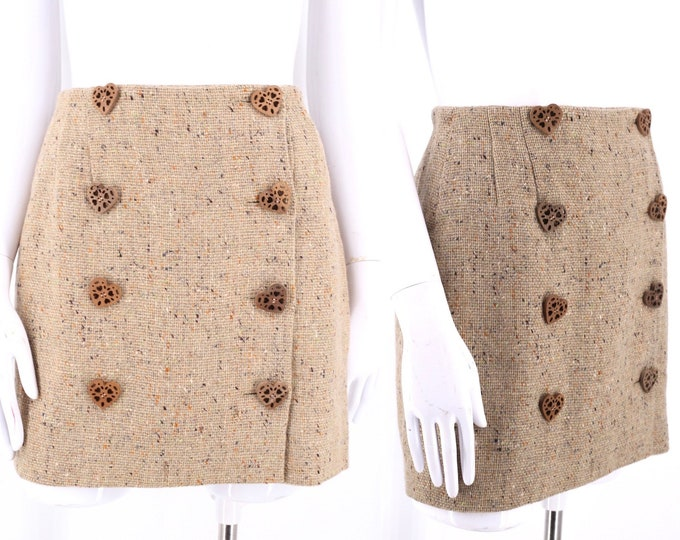 90s MOSCHINO tweed mini skirt sz 8 / vintage 1990s Cheap and Chic mini w/ heart buttons wrap skirt M