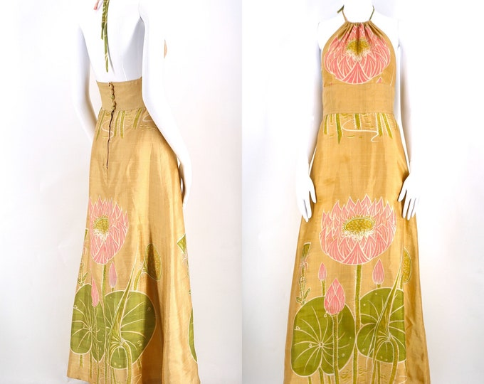 60s silk LILLY PAD print Thai halter gown 38 / 6-8 / vintage 1960s shantung silk botanical design maxi dress org tags