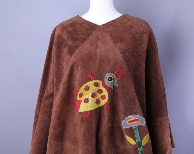 70s APPLIQUÉ  brown suede arts and crafts ladybug poncho cape top hippy boho one size