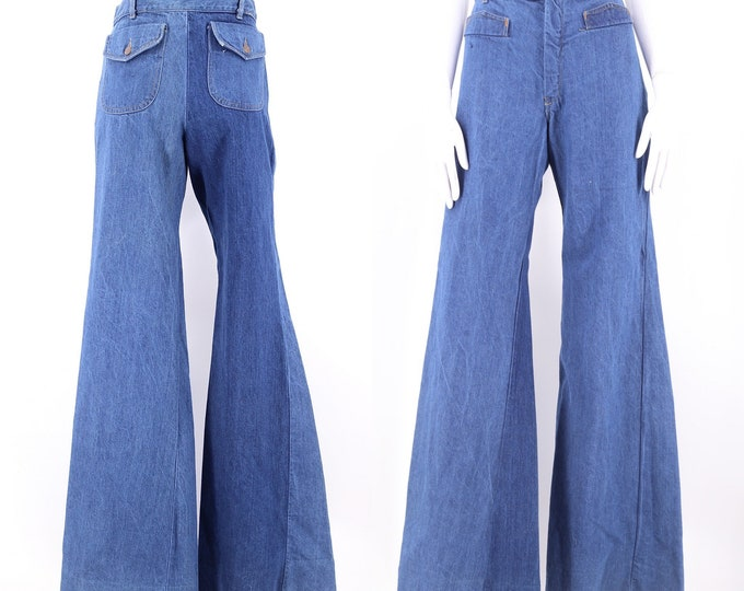 70s high waisted denim bell bottoms jeans 31  / vintage 1970s The New Line flares pants sz 6-8