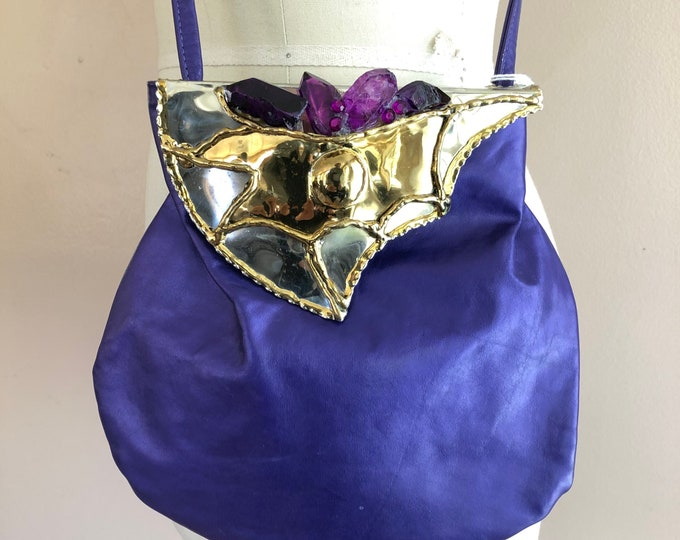 80s amethyst crystal and brass Brazil leather bag / vintage 1980s purple Copa brutalist metal cross body purse handbag