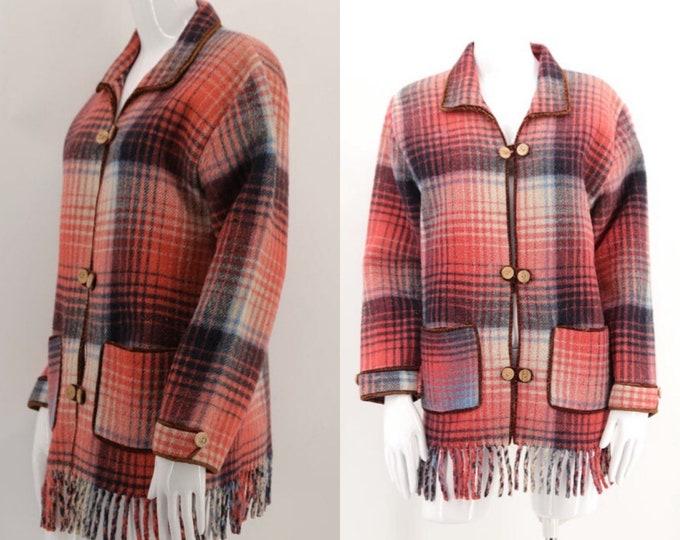 50s wool blanket coat / vintage 1950s cute pink plaid fringe siesta jacket pin up style M-L