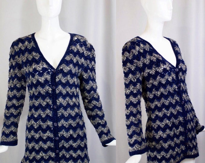 70s YSL sweater / vintage 1970s Yves Saint Laurent cardigan blue white zig zag striped sz S