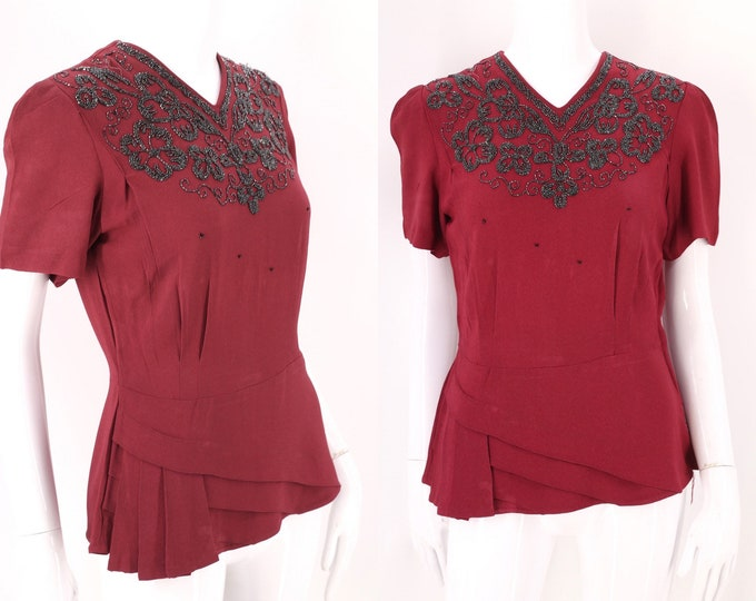 40s crepe cranberry beaded blouse M / vintage 1940s rayon dress top with pleating 30s
