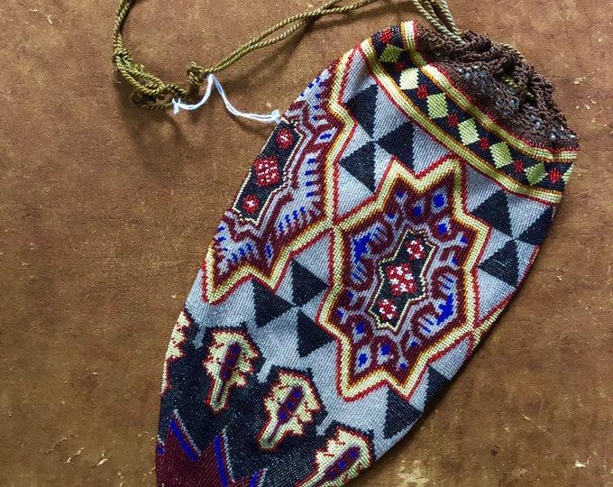 20s ART DECO bag / micro beaded flapper evening bag wristlet pouch vintage antique 1920s purse