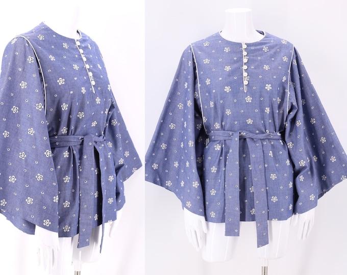 70s chambray eyelet bohemian tunic top M/  vintage 1970s loose blouse L
