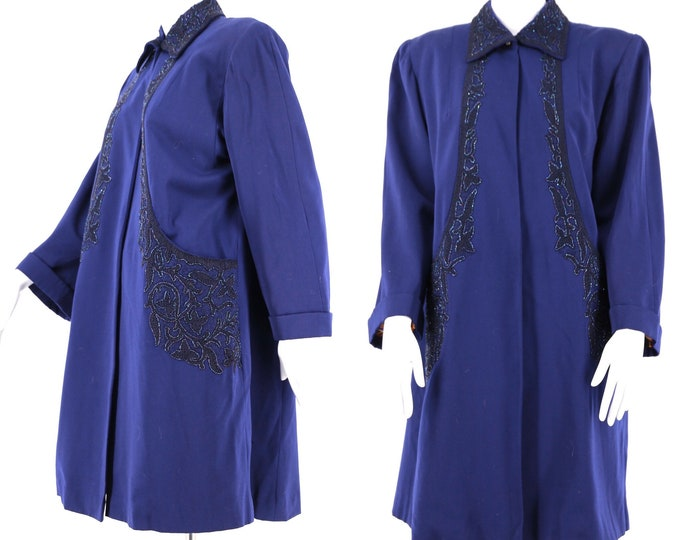 40s vintage swing coat in navy gabardine with soutache trim and intricate beading vintage 1940s L