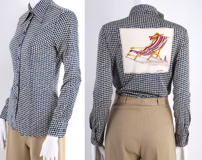 70s Wayne Rogers  NOVELTY PRINT nylon shirt / vintage 1970s button down tight fit disco top sz 11/12 - US 6