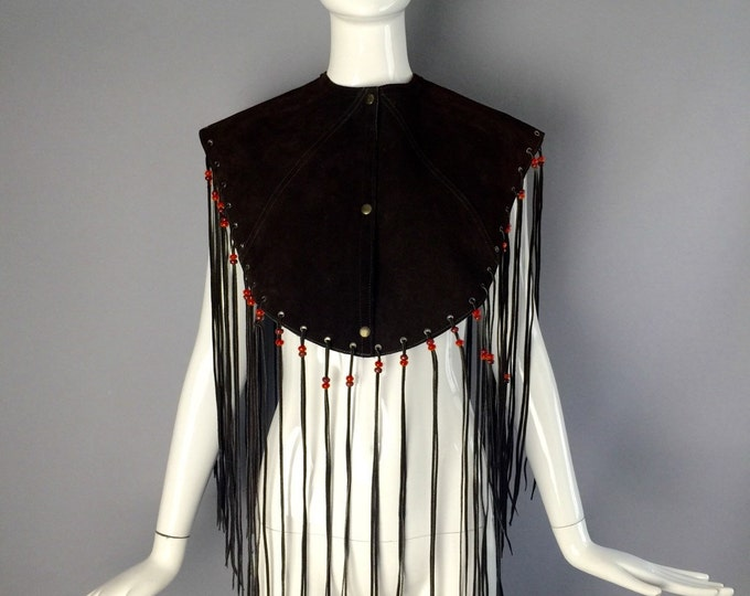70s SUEDE FRINGE beaded outrageous boho snap poncho COLLAR festival Mr Leather vintage 1970s