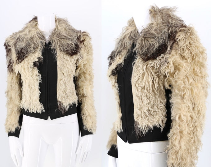 70s Mongolian lamb shaggy fur jacket / vintage 1970s black & white curly lamb cropped shearling jacket size S 4-6