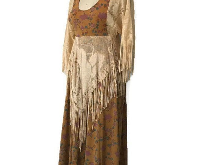 70s FLORAL FRINGE Stevie California Label Bohemian scarf Dress vintage 1970s