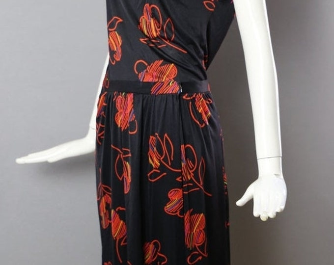 25% OFF 70s HALSTON V  2-piece silk jersey skirt and top outfit floral print disco Studio 54 12 large