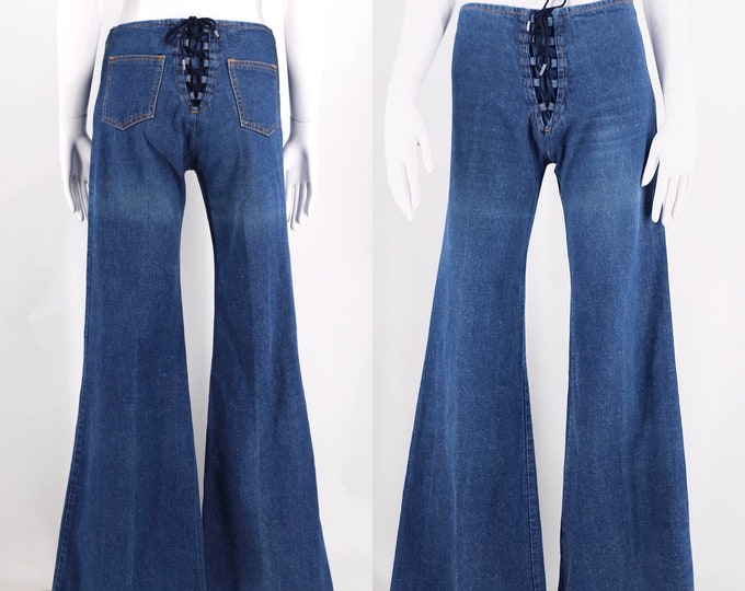 70s denim lace up hi waisted bells sz 28-31 / vintage 1970s Chemin De Fer lightweight wide leg bell bottoms pants