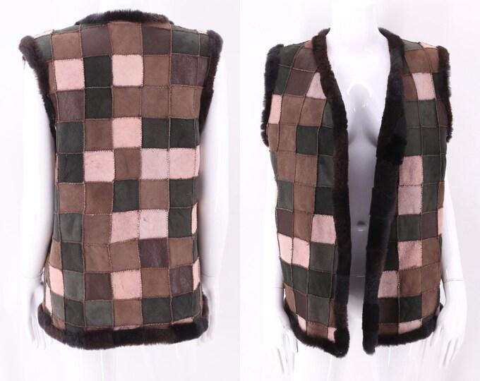 70s suede shearling patchwork vest M-L / vintage 1970s Woodstock era quilted pattern vest jacket