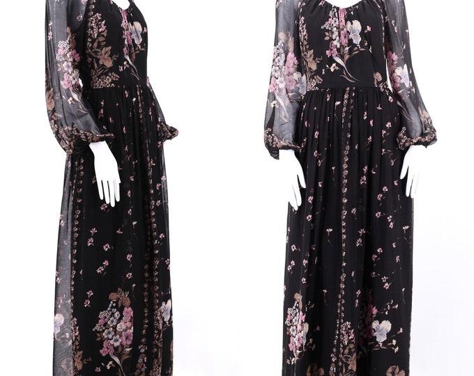 70s black chiffon print maxi dress M / vintage 1970s peasant prairie gown