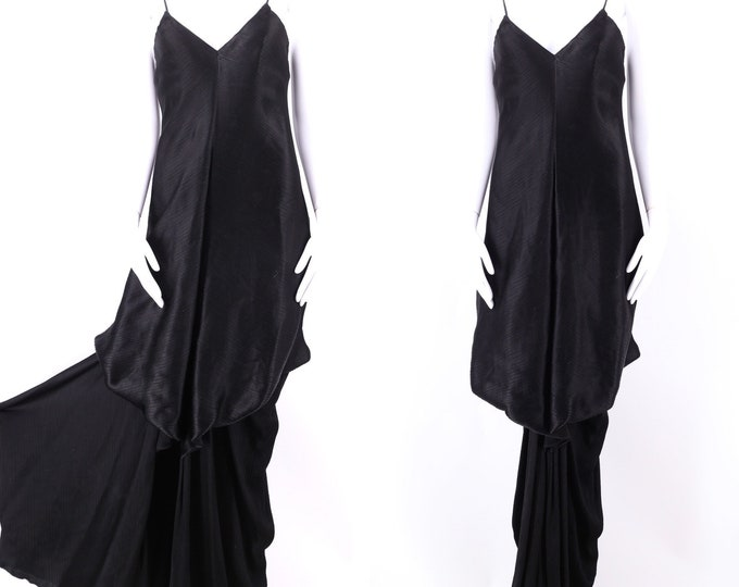 70s STAVROPOULOS Grecian silk evening gown M / RARE 1970s vintage designer dress w/ draping Studio 54 Halston