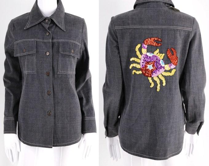 70s RONCELLI denim Cancer sequin crab jacket / vintage 1970s novelty print black shirt horoscope astrology zodiac jacket sz 11